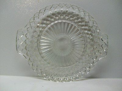Anchor Hocking Depression Glass Waterford Crystal Waffle Handled Cake Plate