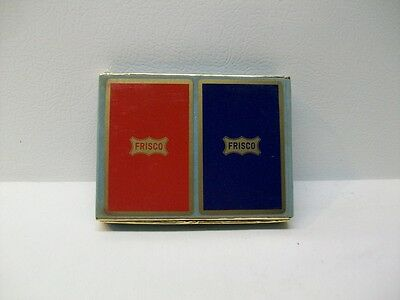 Vintage Congress Frisco Playing Cards With Suede Covered Case-Blue Deck Sealed