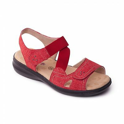 b457322aaea9 Padders LOUISE 2 Ladies Womens Comfy Extra Wide EEE Fit Touch Fasten Sandals  Red