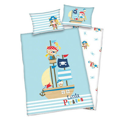 Herding Renforce Kinder-Bettwäsche Lara Little Pirates 100 x 135 cm (Hellblau)