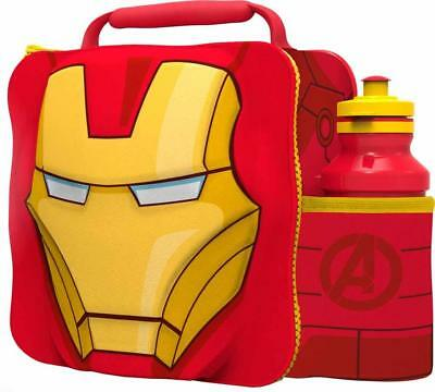Boyztoys BOYT-53857 Zip Closure 3D Iron Man Design Lunch Bag with Bottle - Red