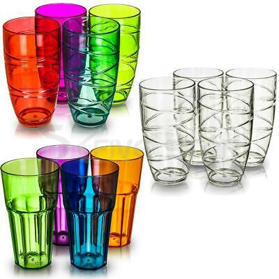 4 Deluxe Plastic Acrylic Tumbler Cocktail Glasses Swirl Juice Wine Picnic Party