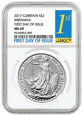 2017 Great Britain 2 Pnd 1 oz Silver Britannia NGC MS69 First Day Issue SKU43893