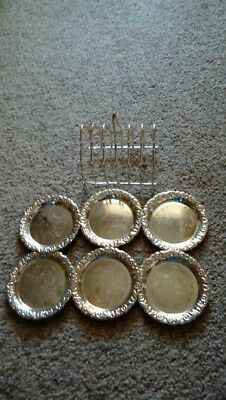 Vintage Queen Anne Silver Plated Ornate Coasters & Stand