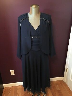 SL Fashions Navy Blue Mother of the Bride Groom Formal Dress Womens Size 12