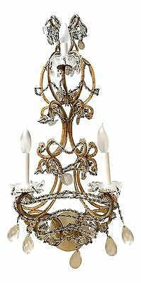 Pair of Antique Vintage Crystal Wall Sconces from Marlboro Man Estate in AZ