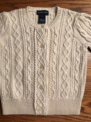 Polo, Ralph Lauren Girls Size 6 Beige Cable Knit Cardigan Sweater EUC