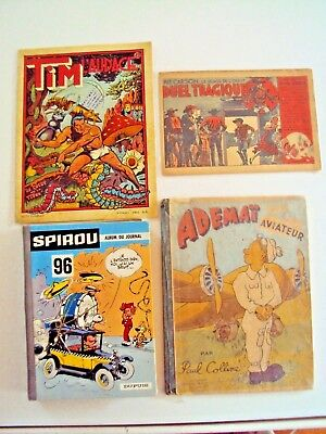 lot de bd album spirou 96, kit carson, tim l'audace, adémaï aviateur