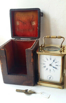 Very Rare Collectable Gorge H.Acier Paris Alarm Carriage Clock with Case & Key