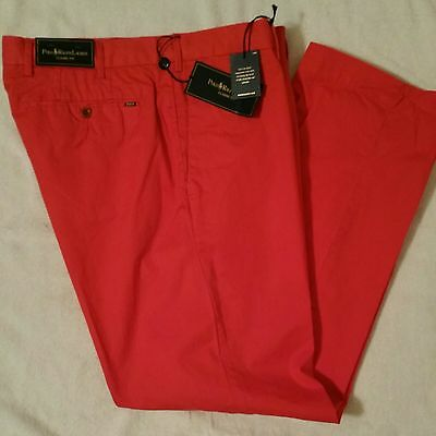 NEW Ralph Lauren Mens Chino Pants Classic Fit Flat Front Red 36 x 30 NWT