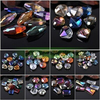 Lots Assorted Heart/Flower/Coin/Teardrop Faceted Crystal Glass Loose Beads Mixed
