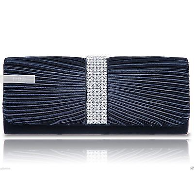 Navy Satin Crystal Diamante Wedding Ladies Party Prom Evening Clutch Hand Bag