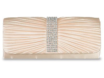 Gold Satin Crystal Diamante Wedding Ladies Party Prom Evening Clutch Hand Bag