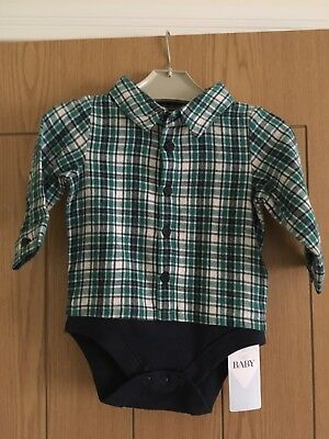 New Baby Boy Shirt 3-6 Month M&S Marks And Spencer Green Check
