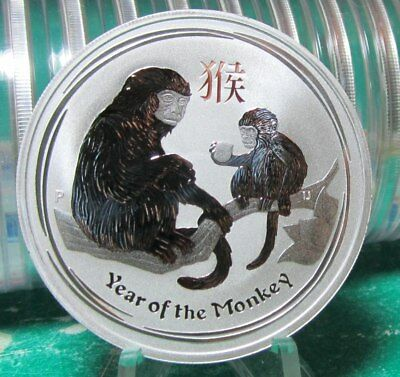 """2016 Perth Mint Australia 1 oz Silver .999 """"YEAR OF THE MONKEY""""  in Mint Cpasule"""