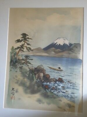 Japanese watercolour landscape scene of boat and snowcovered mountain signed