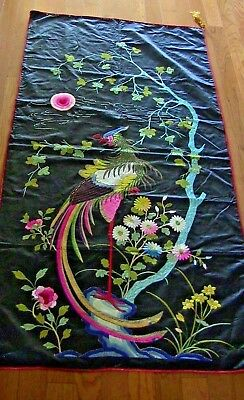 Antique Asian Silk Embroidery Bird Peacocks Floral Black Bright Color Wall 65x32