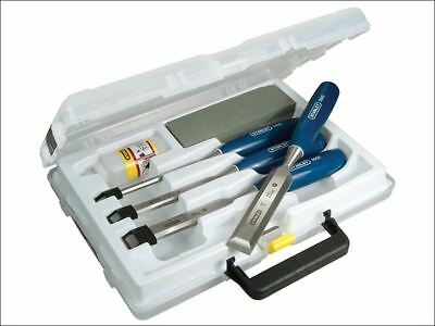 Stanley 4 Pc Wood Working Chisel Set with Sharpening Stone & Oil in Case 6-25mm