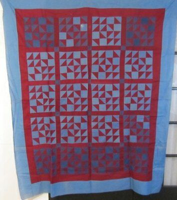 Farm House c 1900s Indiana Ohio AMISH Vintage Quilt Top RED Blue