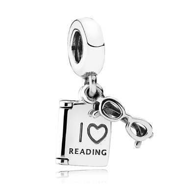 Authentic Pandora Charm Sterling Silver 791984 Love Reading Pendant Charm