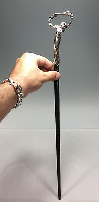 French Nouveau 950 Silver & Carved Ebony Swagger Stick Cane Nude Girl * Signed *