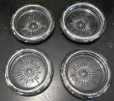 Four (4) Vintage Glass Coasters With Silver Plated Rims