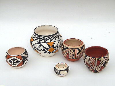 Collection of 5 Native American Indian Acoma Hopi Southwest Pueblo Pottery Jars