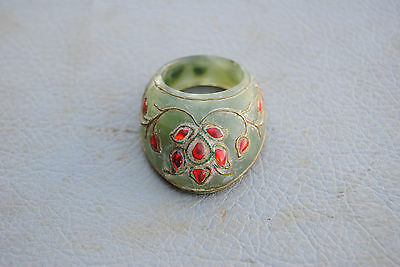 Vintage Indo Persian Mughal Islamic Jewelled Jade Archer Ring NO Arrow Bow