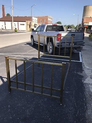 "ANTIQUE brass full BED FRAME ""COMPLETE"" ""ORIGINAL"" HEADBOARD RAILS"