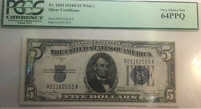 $5 1934D Wide I Silver Certificate PCGS VERY CHOICE New 64 PPQ