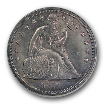 1871 $1 Liberty Seated Dollar Uncirculated Mint State Purple Toned Beauty R807