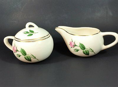Paden City Pottery Moss Rose Sugar Bowl w/lid and Creamer