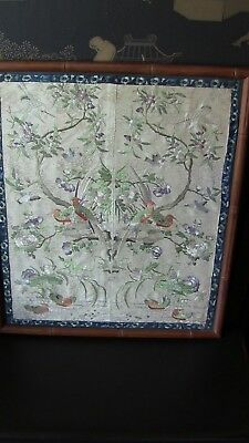 Vintage Antique Asian Ming Dynasty Embroidery on Silk Framed 17 x 20 Bird Floral