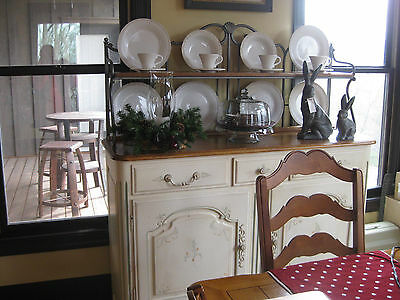 Ethan Allen Country French Paint Distressed Server Sideboard Buffet Legacy Hutch
