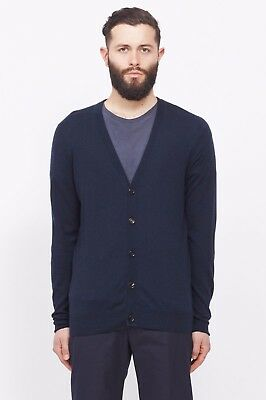 Margiela Cotton/Wool Cardigan with Lamb Leather Elbow Patch - Men's M