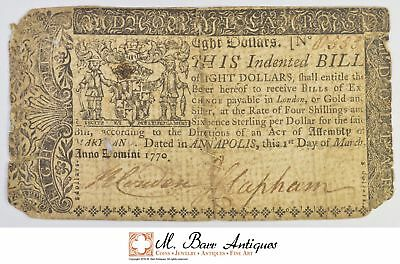1770 $8.00 Maryland Sewn Note Colonial Currency *375