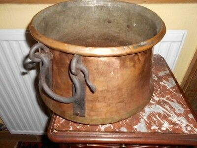 large handmade arts crafts copper pot with hand forged handles