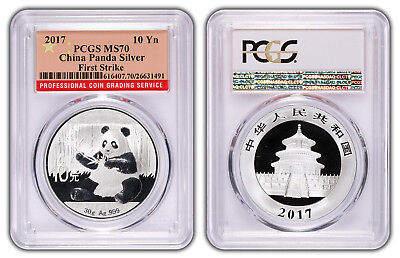 2017 China 10 Yuan Silver Panda PCGS MS70 - First Strike - Flag Label