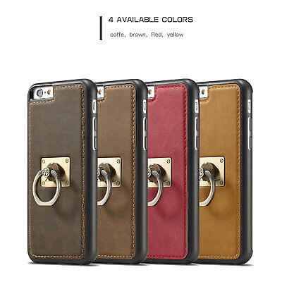Vintage PU Leather Shockproof Ring Holder Stand Case Cover For iPhone 6s 7 Plus
