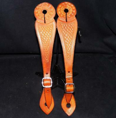Vaquero Style Buckaroo Fishscale Tooling Large Button Slot Leather Spur Straps
