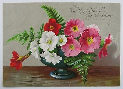 Victorian New Year Greeting Card Flowers Floral Design