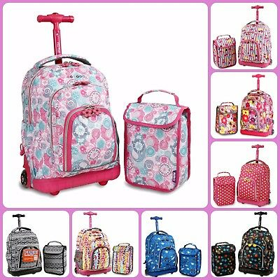 School Backpack With Wheels J World New York Rolling Backpack Girls Lunch Bag