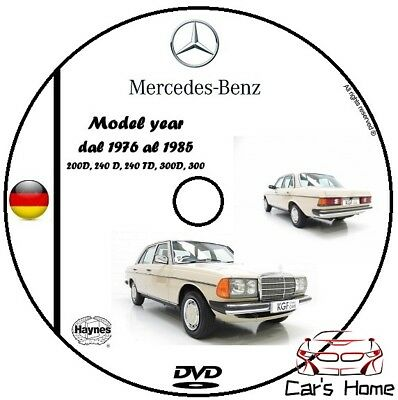 MANUALE OFFICINA MERCEDES BENZ W123 my 76 - 85 WORKSHOP MANUAL DVD