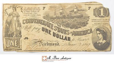 1862 $1.00 Confederate States Of America Large Size Horseblanket Note *679
