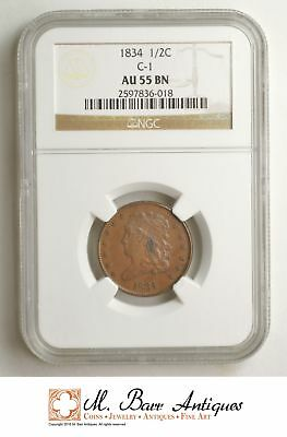 AU55 BN 1834 Classic Head Half Cent - Graded NGC *SC08