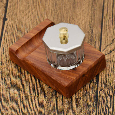 Antique Wood Ink Glass Bottles Pen Holder Container Writing Supplies 2.5x3.2cm