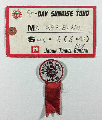 Japan Travel Bureau 8 Day Sunrise Tour Vintage Luggage Tag with Pin Souvenirs