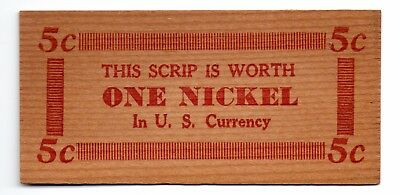 Vintage depression wooden scrip nickel Illinois issue plus NH semi-official flat