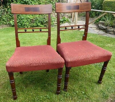 Antique Vintage  Beaded Inlaid Mahogany Backed Pair  Chairs Padded Seats
