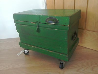 Antique Pine Tool Box / Chest / Trunk  -later Inner Storage Trays & industrial w